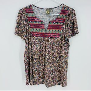 One September Anthropologie Embroidered Floral Top